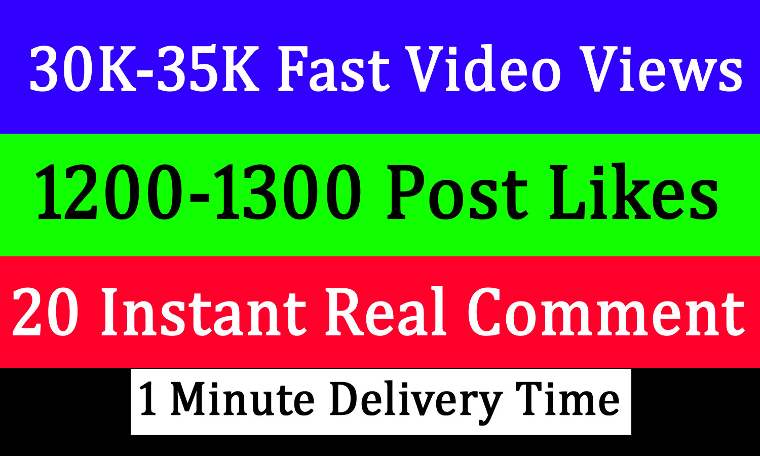 Instant 30k-35k Video Views or 1200 likes or 20 comments Promotion in 1 minute