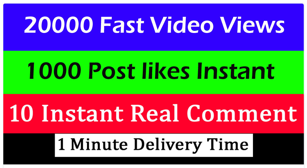 20000+ video views or 1000+ Likes or 10 comments Social media promotion 1 min. delivery