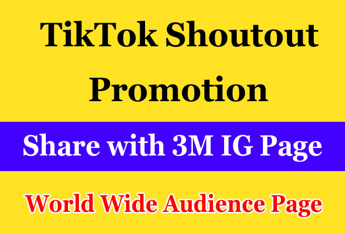 TikTok Promotion via Share on 3M Instagram Followers Page and gain TikTok Audience