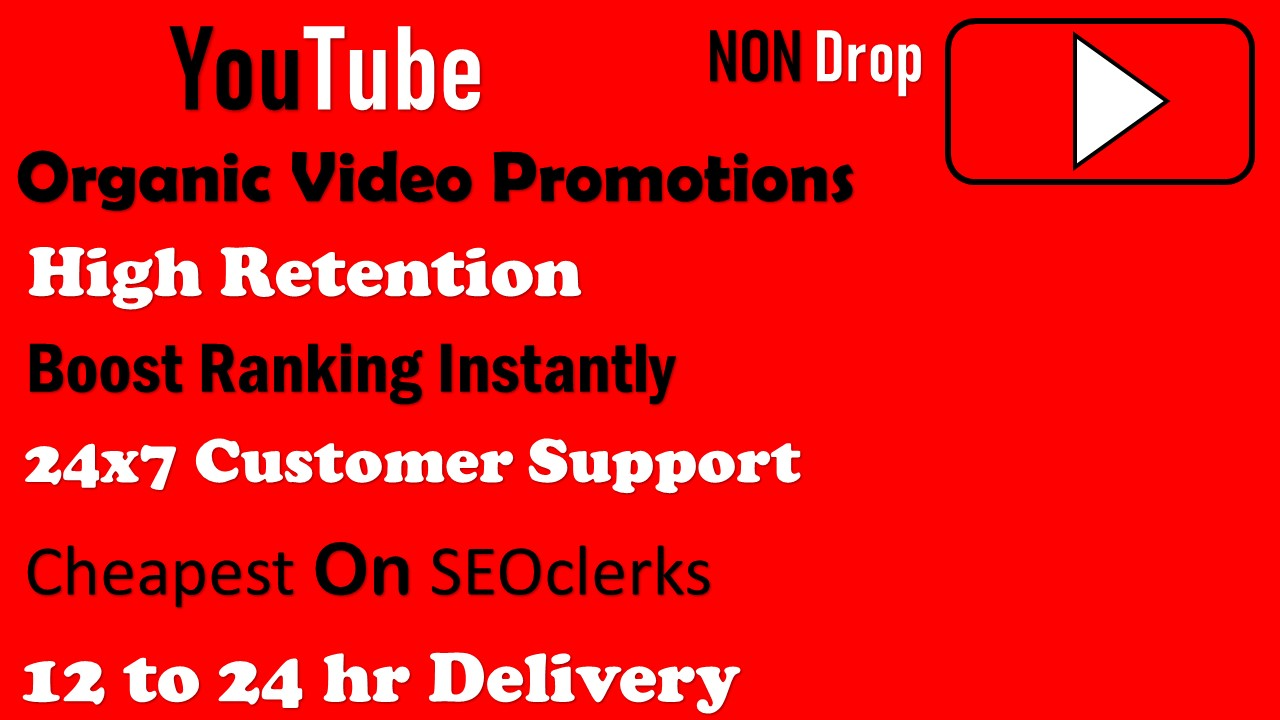 Organic YouTube Video Promotions 12-24 hr Delivery Non drop
