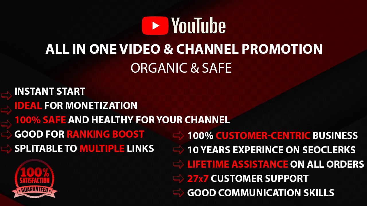 All In One YouTube Video Promotions Pack. Instant Start Youtube Marketing Service