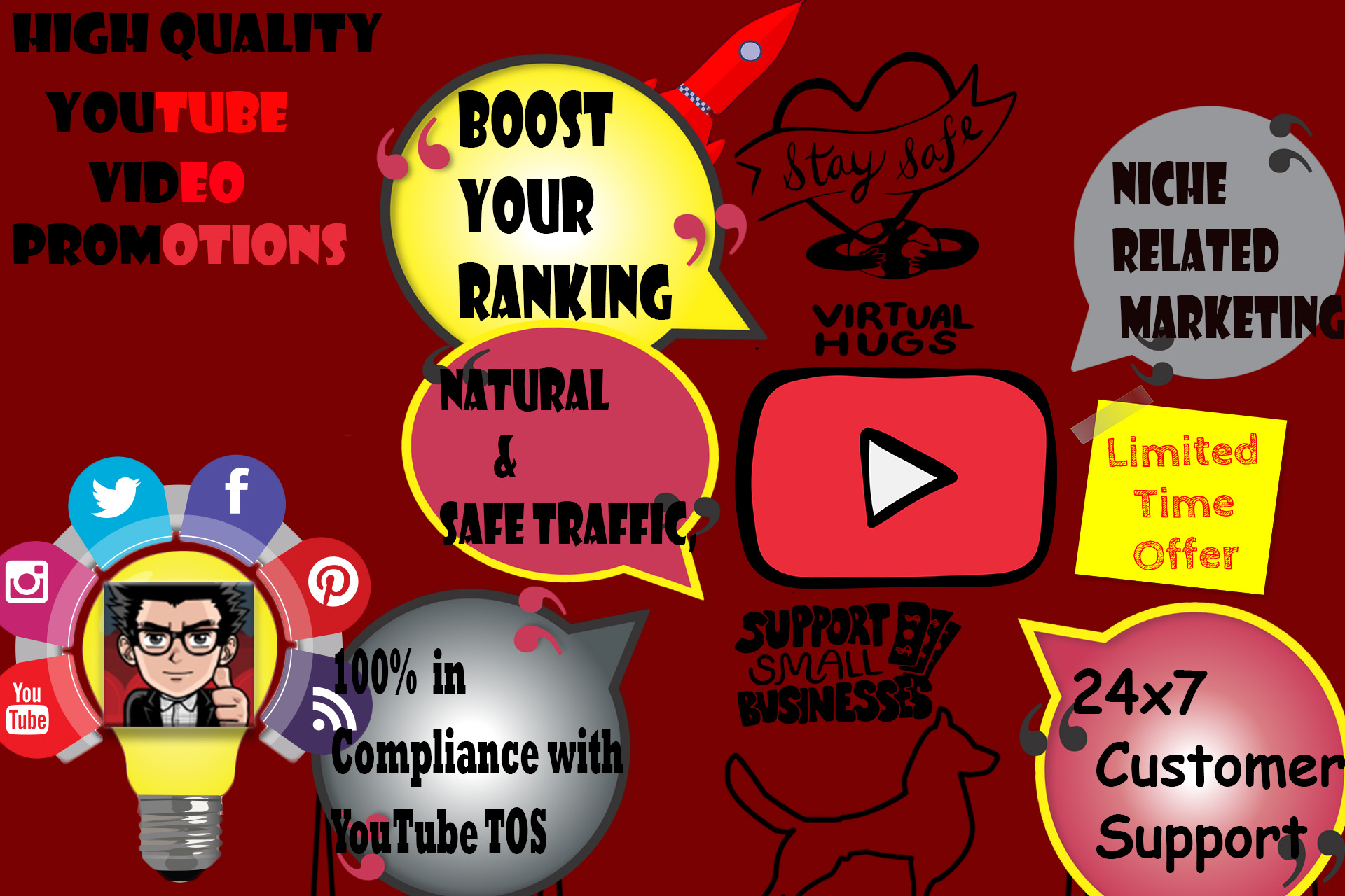 Real YouTube Video Promotions. 1k Youtube Marketing Service 6-24 hr delivery