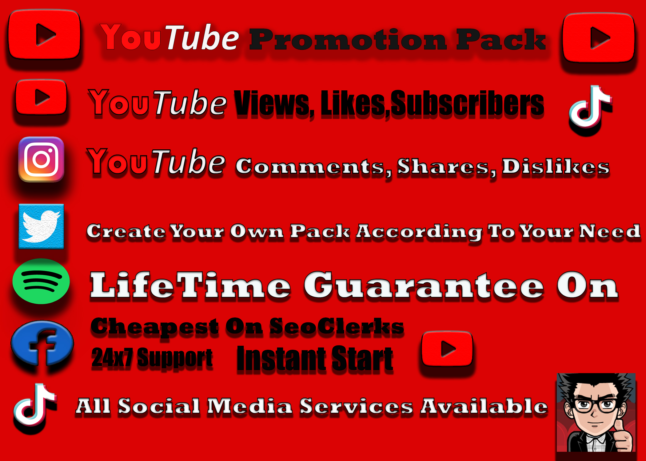 High Retention Organic YouTube 500 Video Promotions, 50 thumbs Up 6-24 hr Delivery Non drop Instant