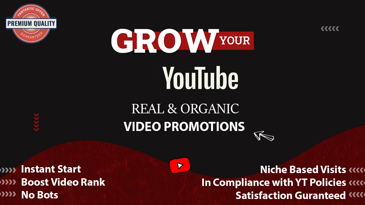 Real YouTube Video Promotions. Youtube Marketing Service 6-24 hr delivery