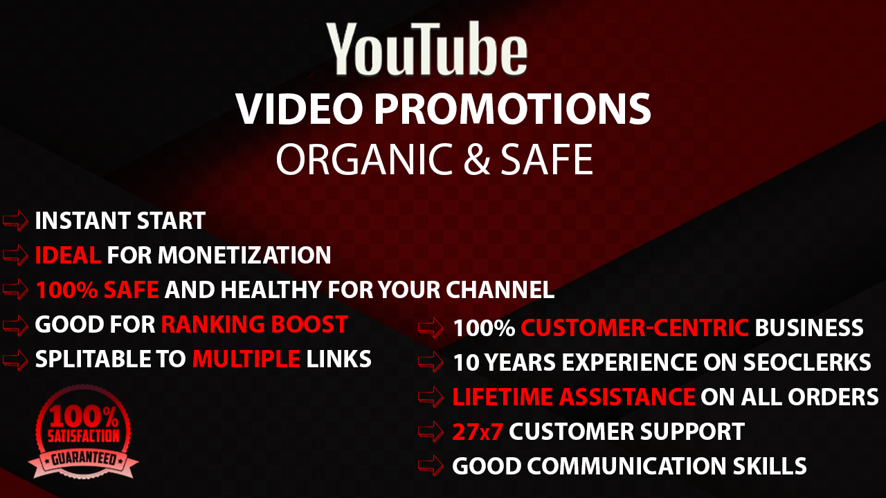 YouTube Video Promotions Premium Pack Youtube Marketing Service