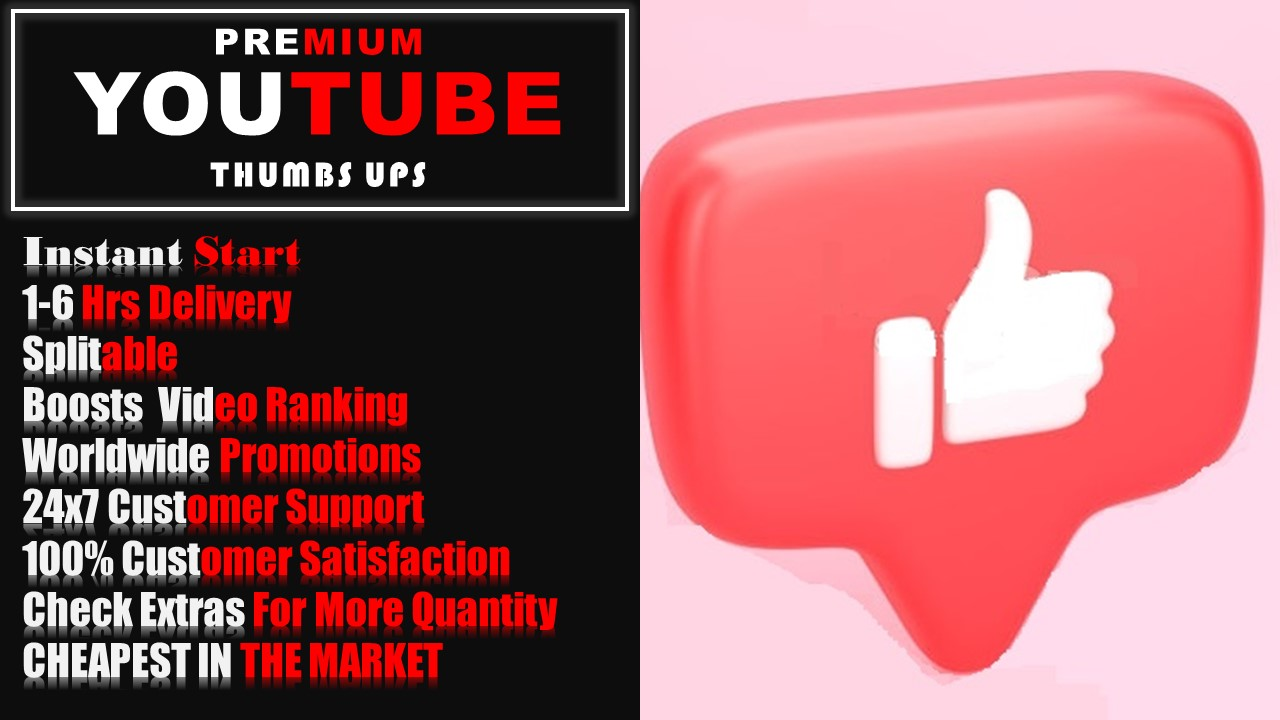 Real YouTube Thumbs-Up Promotion (PROMOTIONAL OFFER CHEAPEST)1-6 hr delivery