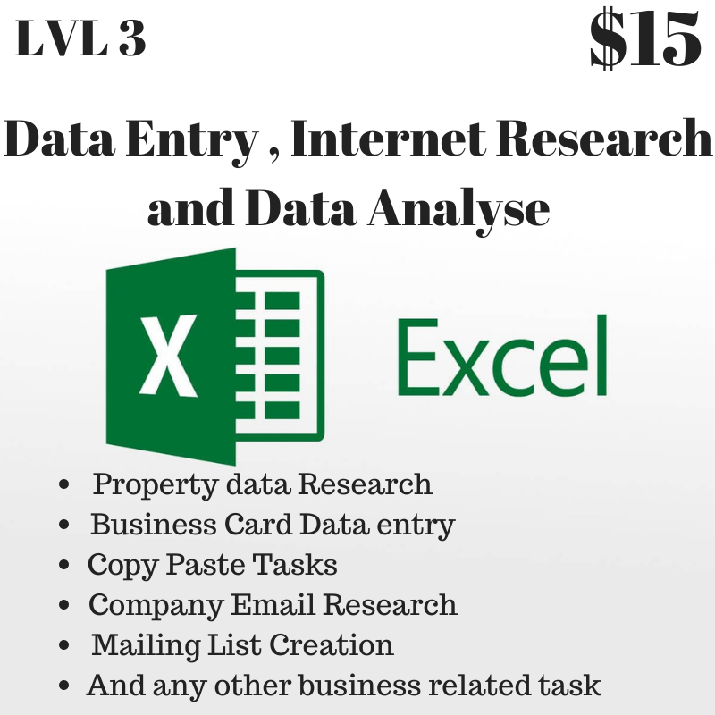 I will do Data Entry, Copy Paste,  Research and Typing