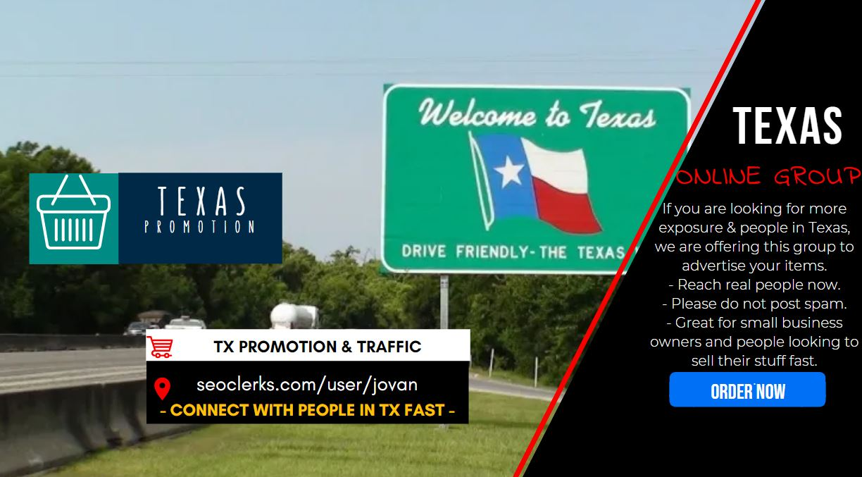 Connect with 4000 People in Texas using a Shoutout Promo to online group,  get social signals traffic