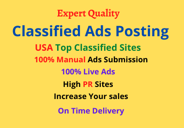 I will 50 manually post your ads on USA classified ad posting sites