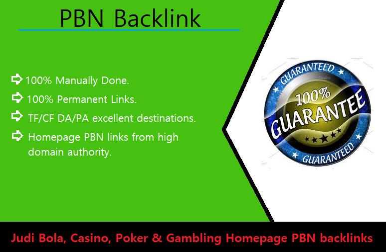 10 Judi Bola,  Casino,  Poker & Gambling Homepage PBN backlinks.