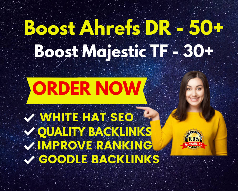 I will increase AHREFS DR to 70 plus majestic TF 30 plus guaranteed