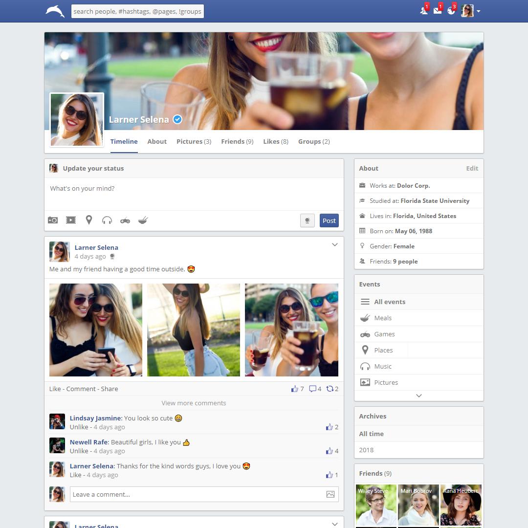 Facebook Similar Social Media Website - Full