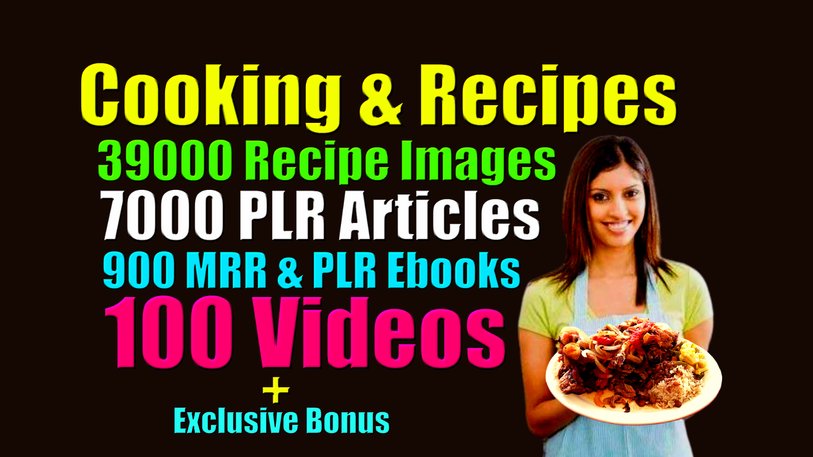 I will give Cooking recipe images,  plr ebooks,  plr articles and videos
