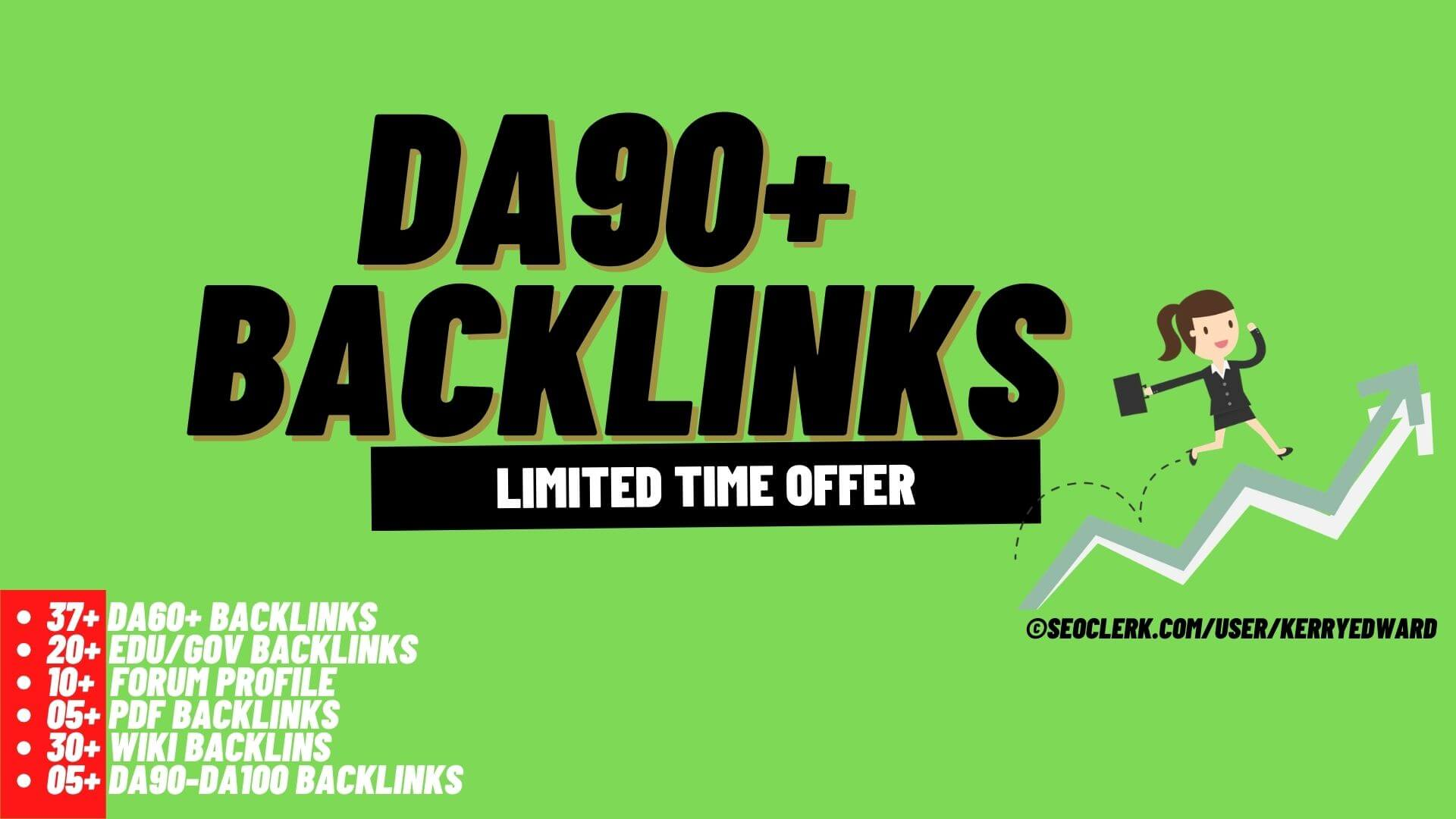 DA90+ Backlinks - 20 Edu/Gov,  30 Wiki,  10 Forum,  05 PDF,  37 DA60+,  and 05 from DA90+