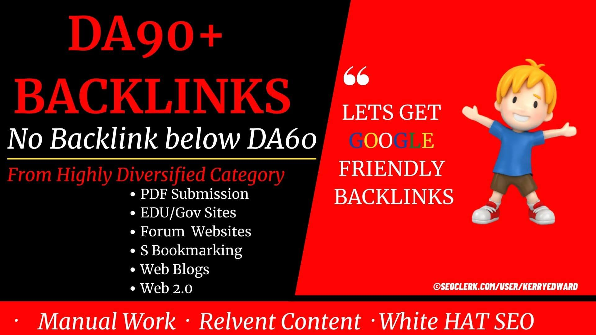 Only DA100-DA60+ Backlinks:53+ premium DA60+ Backlinks to Rank first on Google or any Search Engine