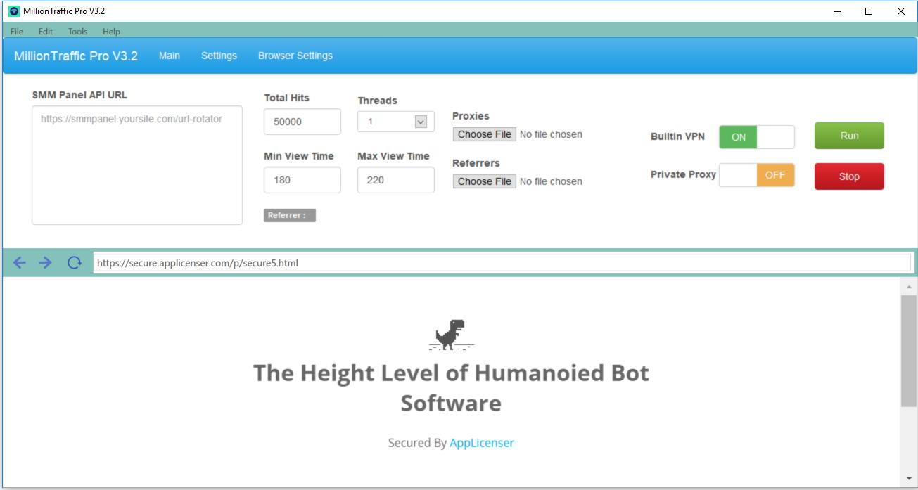 MillionTraffic Pro V3.2 - G. Analytics Visible Million Traffic Bot Software