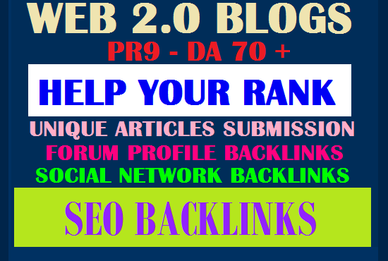 I will Build 100 web 2.0 blogs with PR9 DA70+ SEO Authority Backlinks - Fire Your Google Ranking