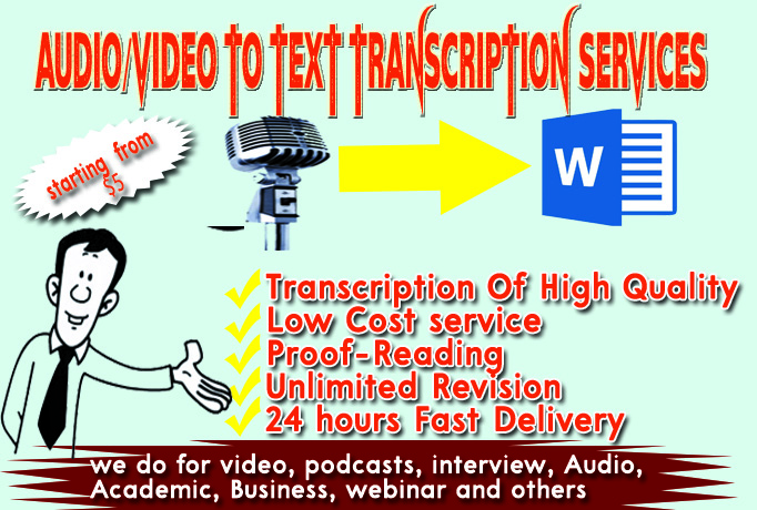 I Will Transcribe 10-Minute (or less) Video/Audio To Text (High Quality Transcription)