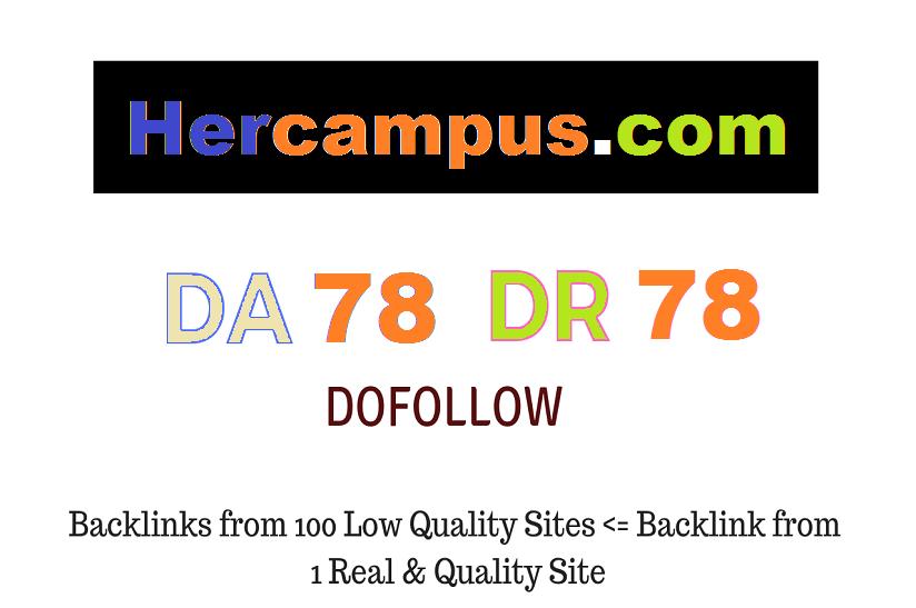 Publish Guest Post on Hercampus. com DA78 DR78