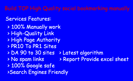 I will Build TOP 25 High Quality social bookmarking manually add your sites