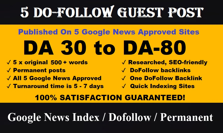 Publish Article on 5 Google News approved websites