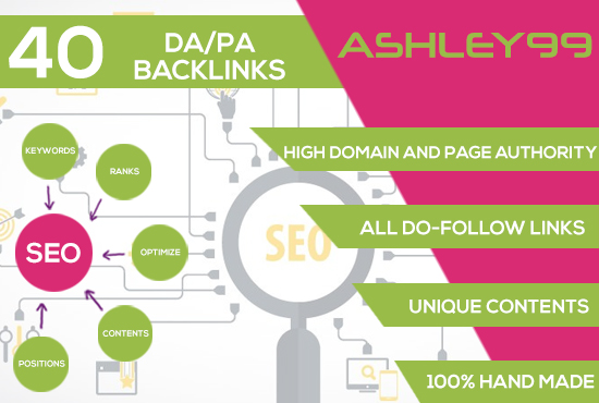 I create 40 BACKLINKS Of HIGH QUALLITY DOMAIN And PAGE AUTHORITY