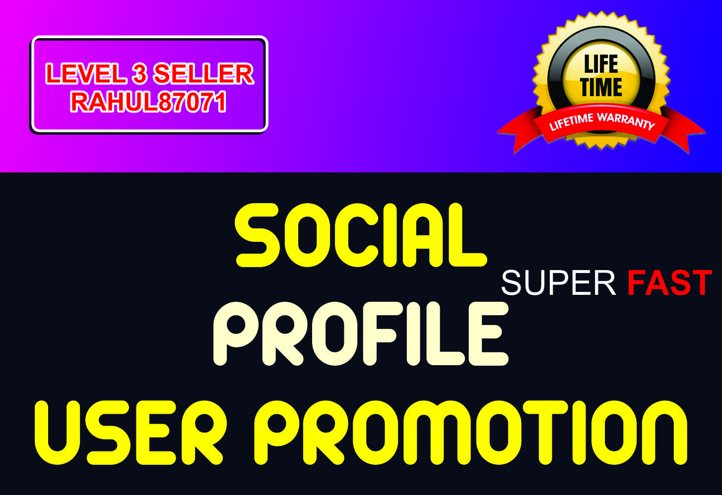 Provide Social Profile Users Promotion Fast and High Quality Service