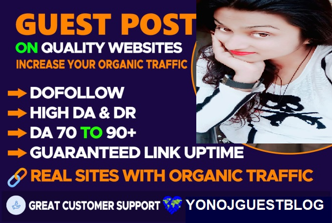 I will guest posting on high authority blogs with dofollow backlink yonojguestblog