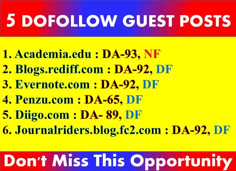 I will Do 5 Guest Posts on +90 DA sites