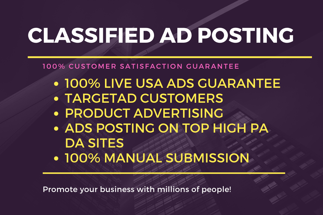 Post 80 Ads To Top Classified USA, UK, CANADA Ad Posting Sites.