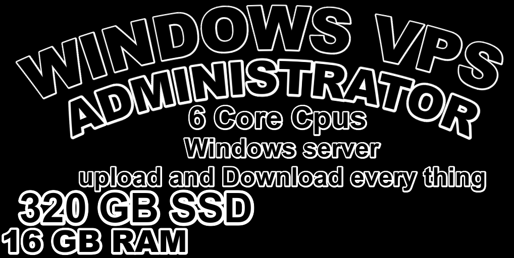 I will provide you Windows VPS RDP 16 GB RAM 6 CPUs 320 GB SSD