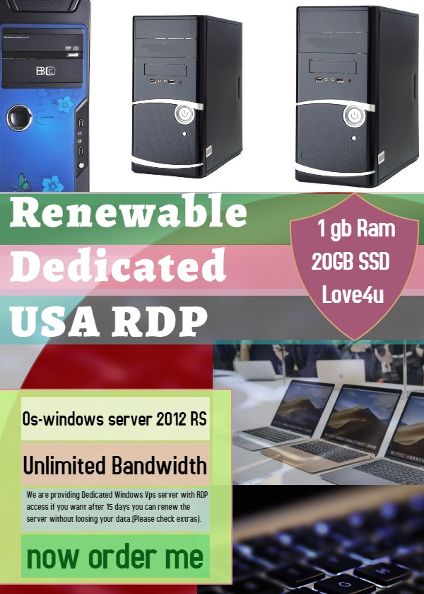 I Provide Renewable Dedicated USA windows RDP VPS server 10GBPS