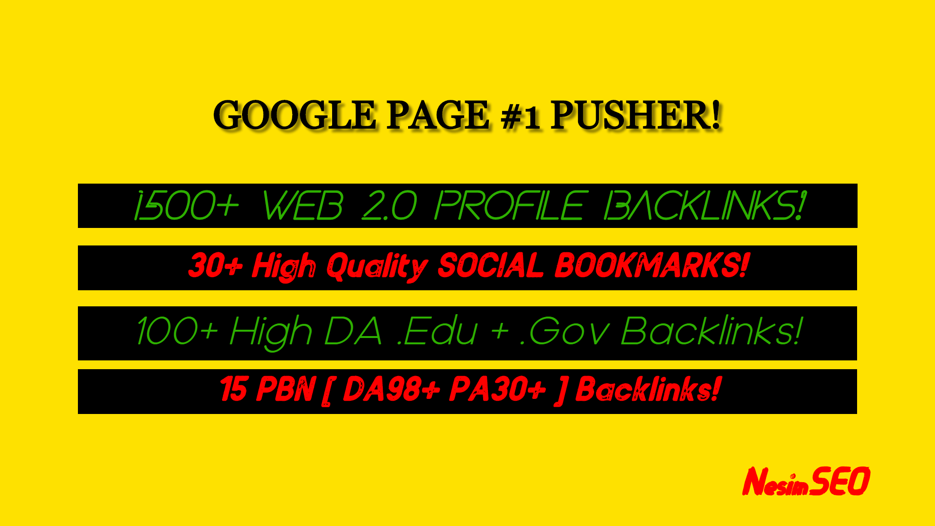 Google Page 1 PUSHER With 1500WEB2 & 15PBN & 100EDU