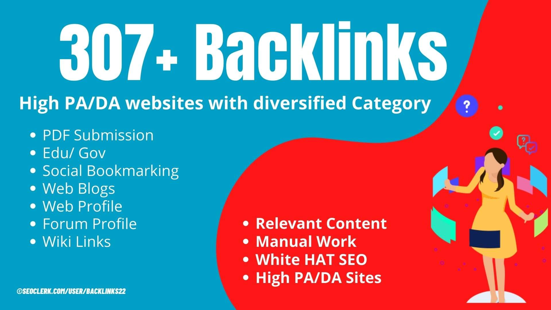 307+ Google & Moz friendly Linking domain from diversified category to Rank first on Google