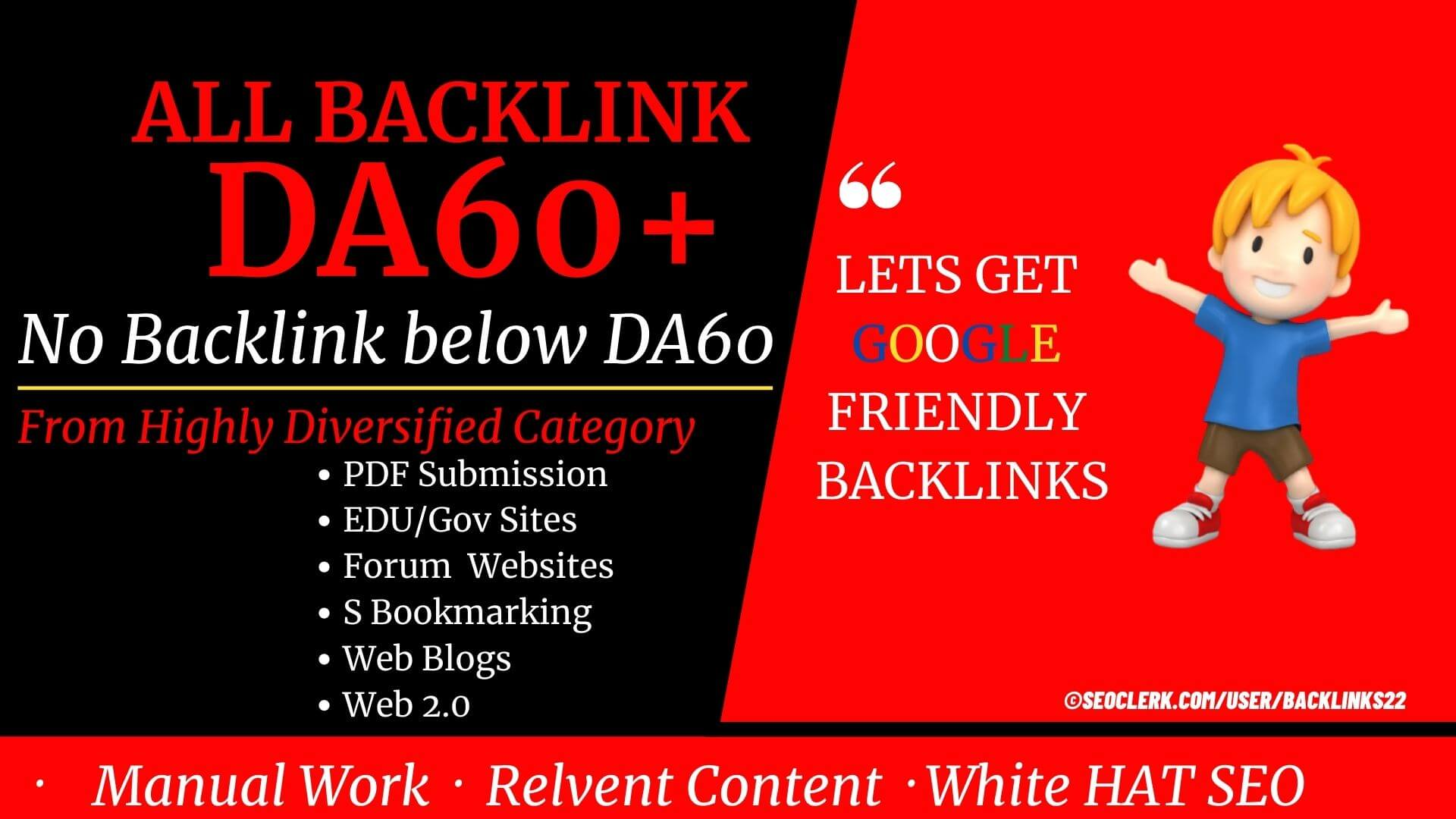 Only DA60+ Backlinks - 53+ Backlinks from Wiki, PDF, Gov, Edu, Forum and S Bookmar to increase SERP
