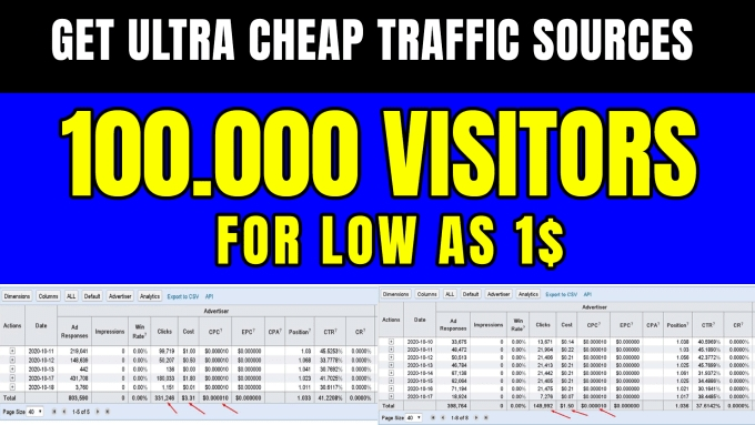 I will give you Traffic Source 100k visitors for 1 - Use For Resell- CPA or something other