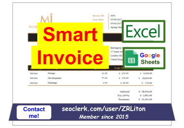 Smart invoice in Excel,  Google Sheets Spreadsheets