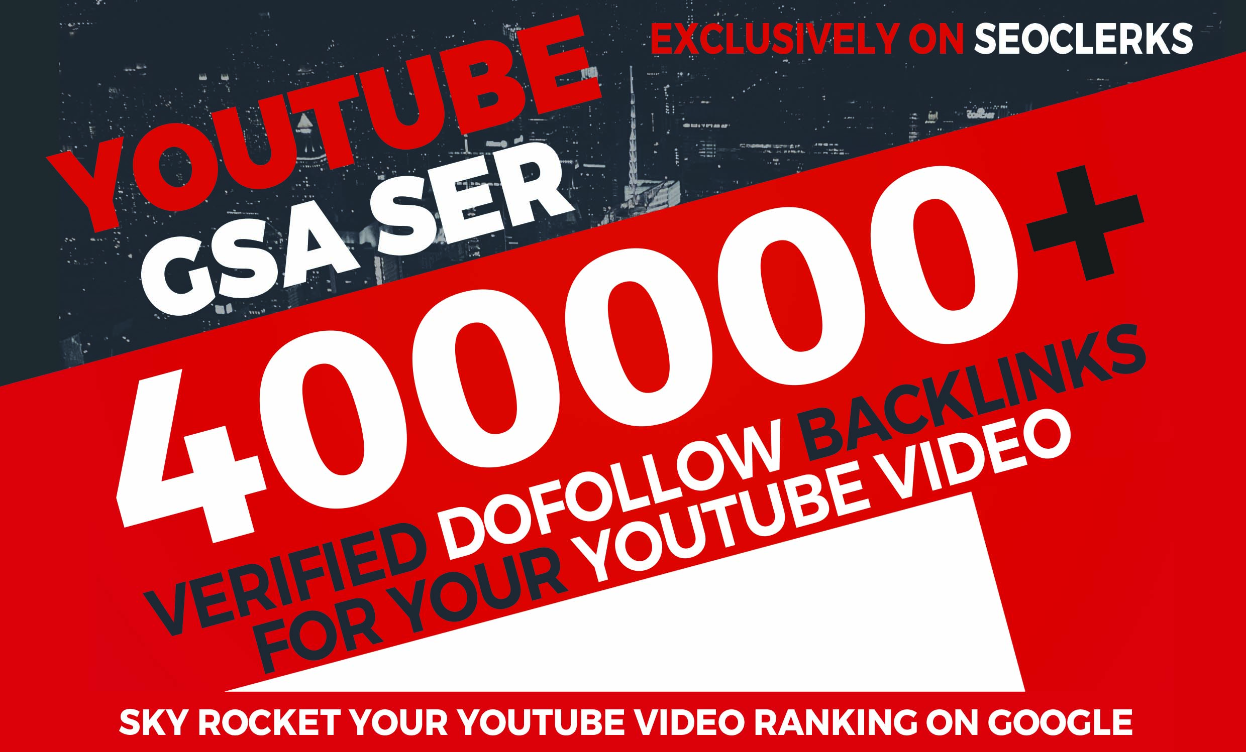 400,000 YouTube GSA SER Verified Backlinks to rank your video in Google