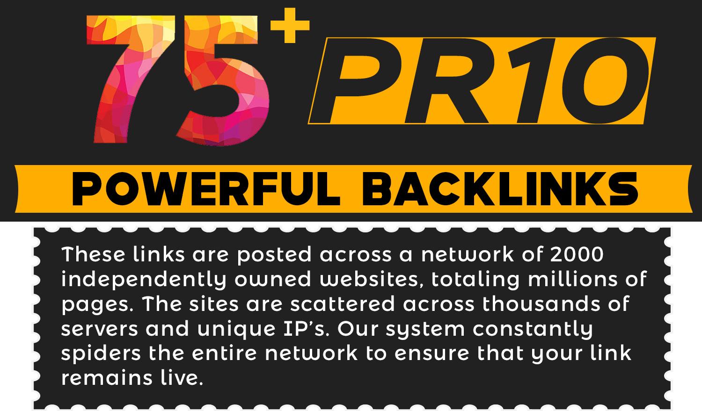 Provide 75+ PR10 Powerful High Quality SEO BackIinks on DA100 websites