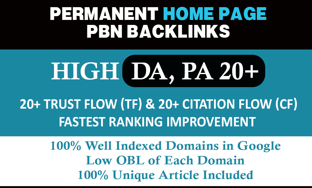Build 50 High DA PA Home Page Permanent Contextual PBN Backlinks