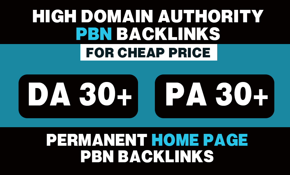 05 Permanent High DA 30+ PA 30+ Home Page PBN Backlinks