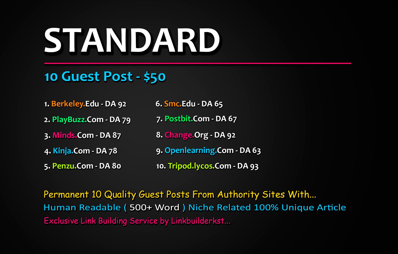 Write & Publish 5X Guest Posts From DA 50+ Unique Platforms