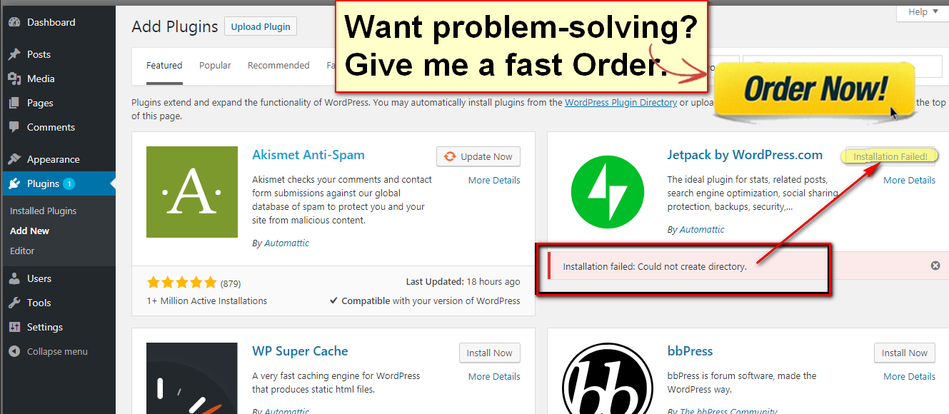 I will WordPress plugins and installation failed,  update failed problems solved