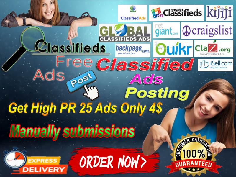 I will advertise your business or product And any other online 25 high PR classified ad site