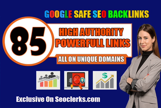 build 85 unique domain SEO backlinks on da100 sites