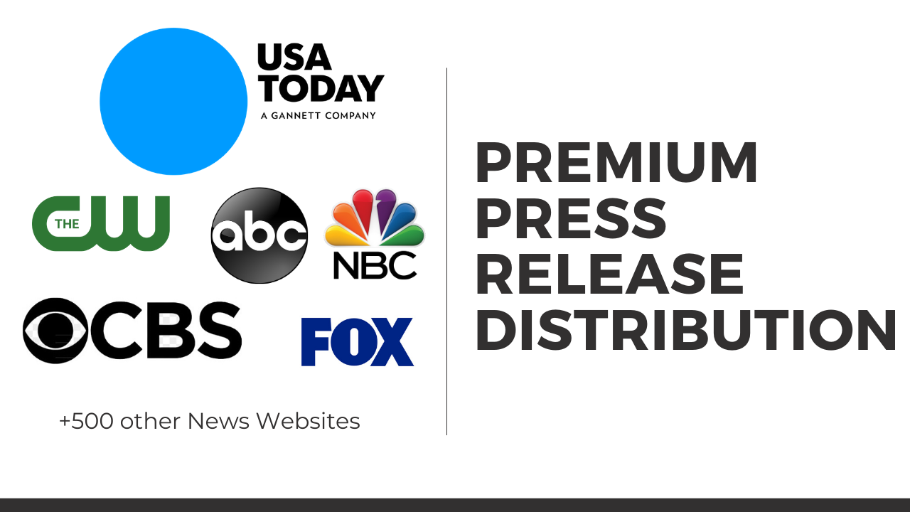 Press release distribution to USA today,  ABC,  CBS,  NBC,  CW,  FOX and 250 other news websites