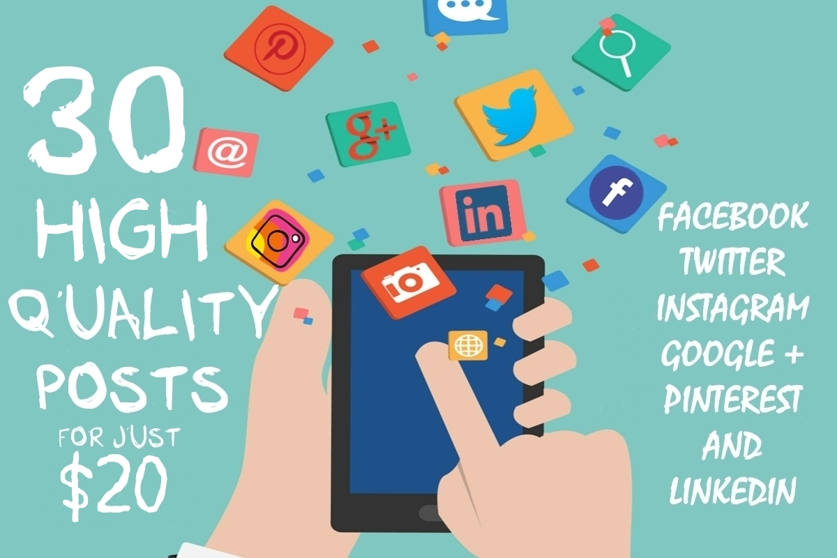 Write 30 High Quality Social Media Content Posts