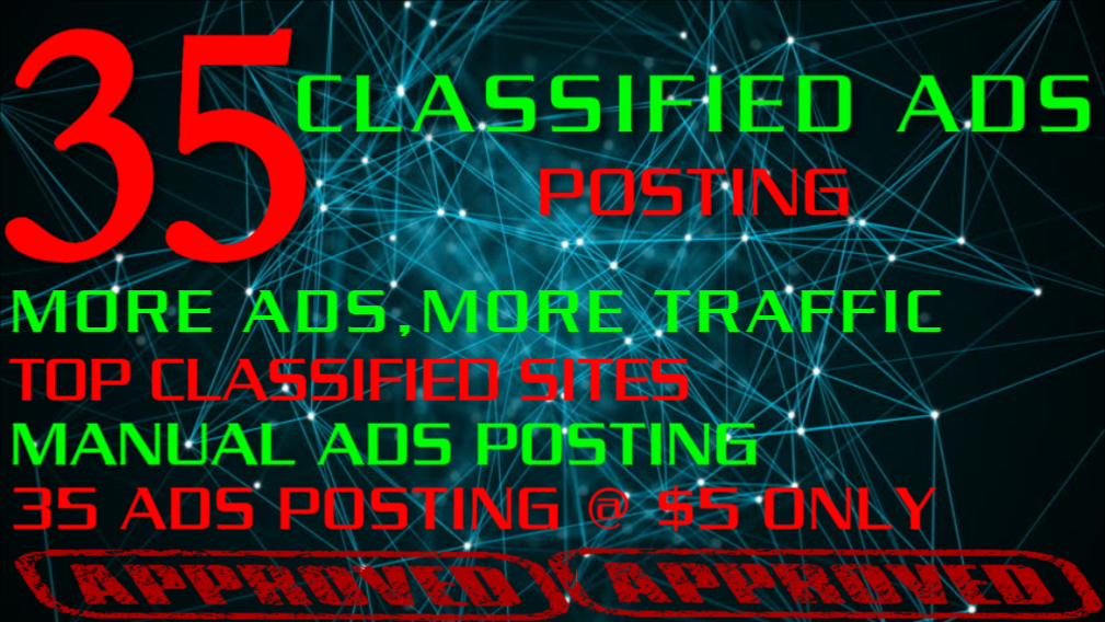 I will post your ads on 35 classified sites manually