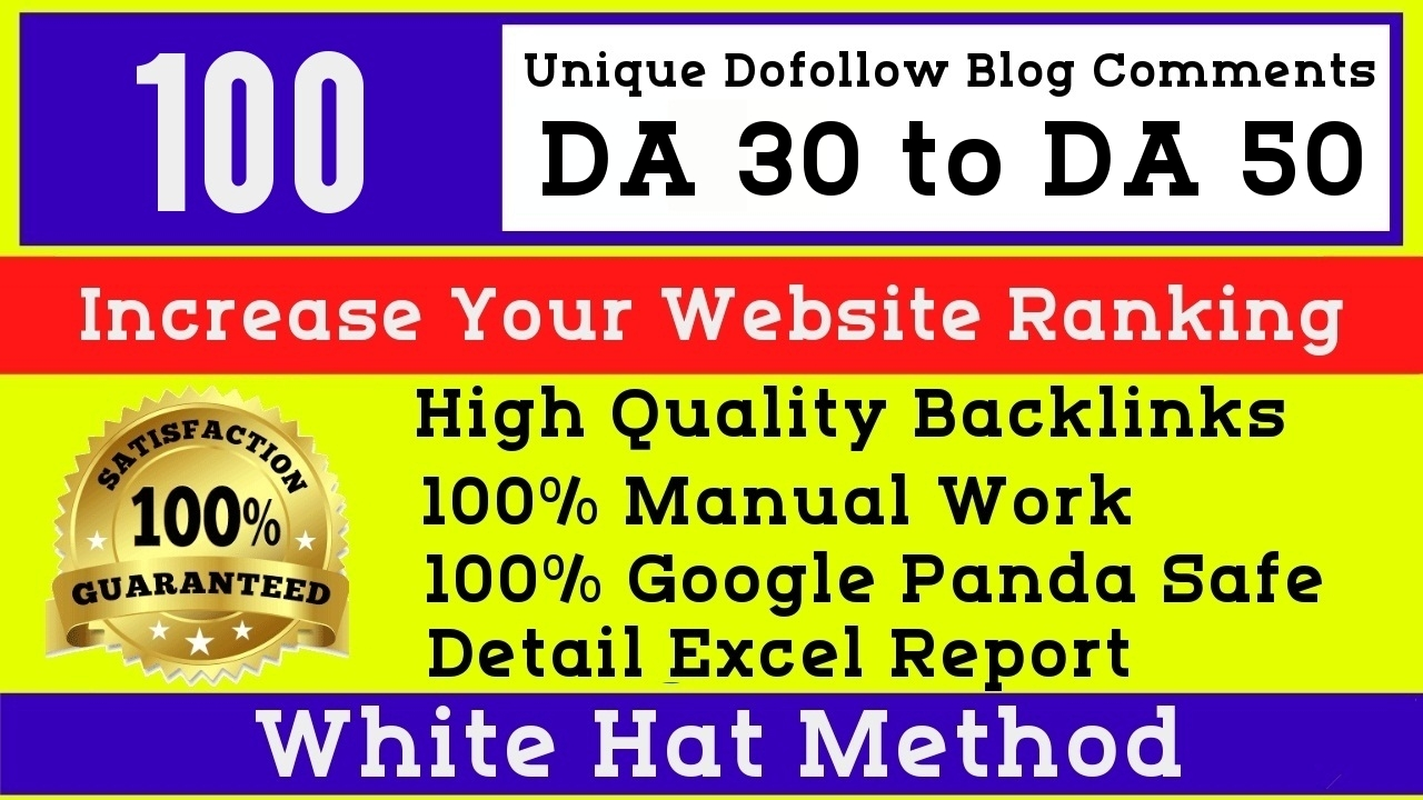 I will manually post 100 High DA Blog Comments