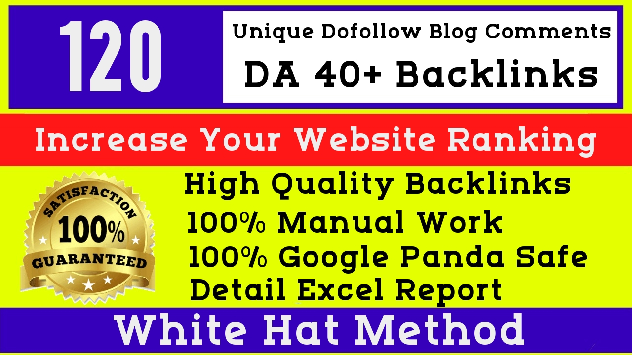 I will manually post 120 High DA 40 Blog Comments